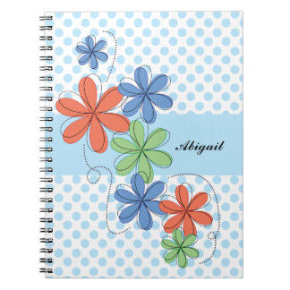 Colorful daisies, blue polka dots, personalized notebook