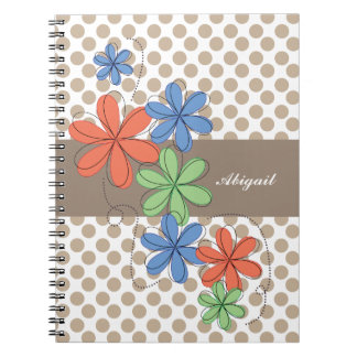 Colorful daisies, brown polka dots, personalized spiral notebook