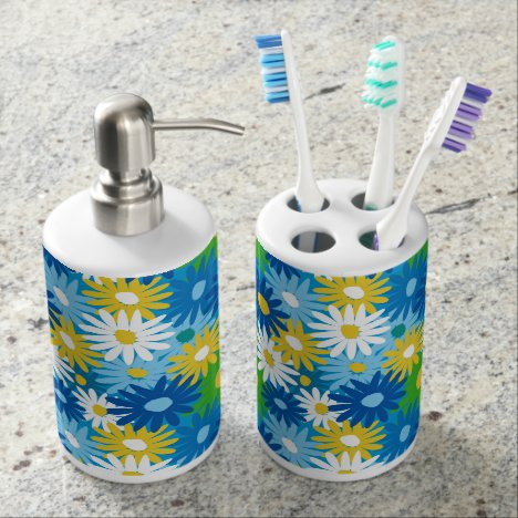 Colorful daisies for the bathroom bathroom set