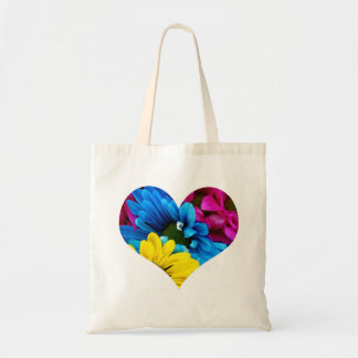 Colorful Daisies Heart Budget Tote Bag