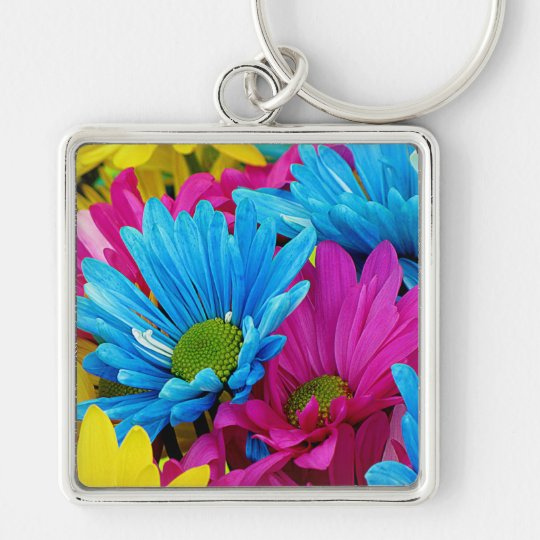 Colorful Daisies Keychain