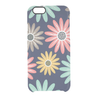 Colorful Daisies on Navy Blue Pattern Uncommon Clearly™ Deflector iPhone 6 Case