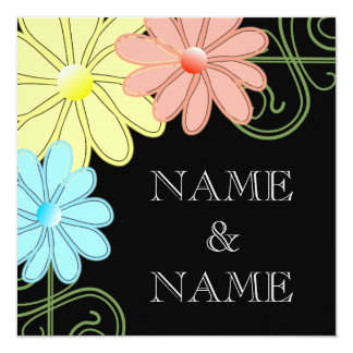 Colorful Daisies Wedding Invitation