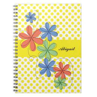 Colorful daisies, yellow polka dots, personalized notebook
