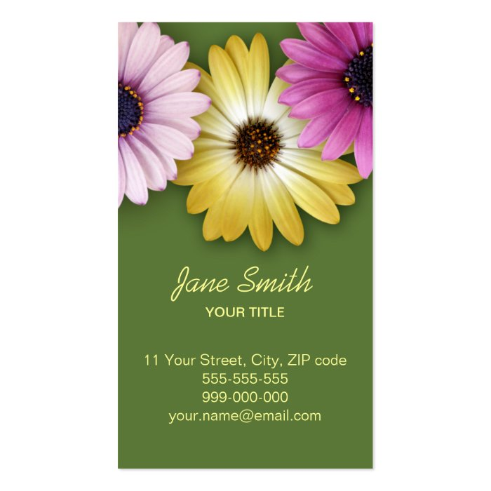 Colorful Daisy Flower business card