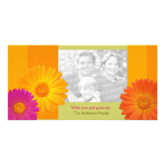 Colorful Daisy Flowers personalized photo card