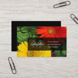 Colorful Daisy : Monogram Business Cards