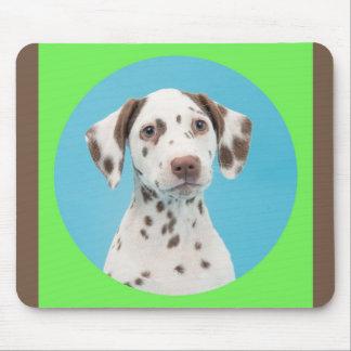 Colorful Dalmatian puppy portrait mouse pat Mouse Pad