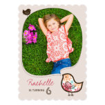 Colorful Damask Bird Girl Photo Birthday Party Card