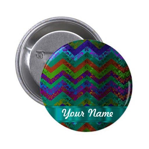 Colorful damask chevron 2 inch round button
