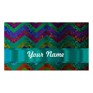 Colorful damask chevron business card templates