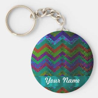 Colorful damask chevron keychain