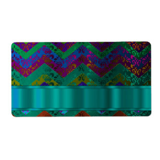 Colorful damask chevron personalized shipping label