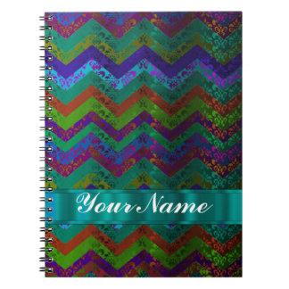 Colorful damask chevron spiral note book