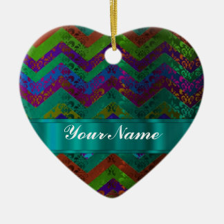Colorful damask chevron christmas tree ornaments