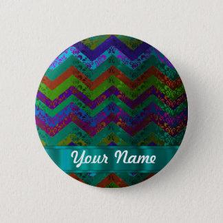 Colorful damask chevron pinback button