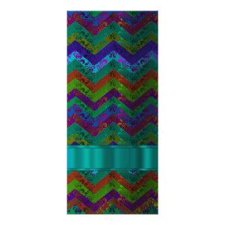 Colorful damask chevron custom rack card