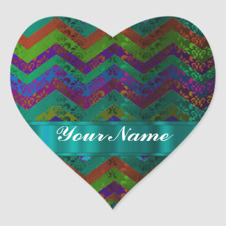 Colorful damask chevron stickers