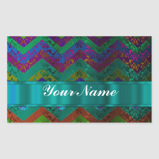 Colorful damask chevron rectangular stickers