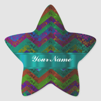 Colorful damask chevron star stickers