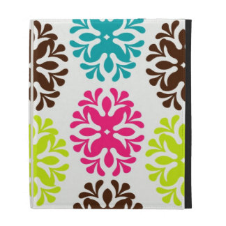 Colorful damask floral girly cute flower pattern iPad folio covers