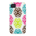 Colorful damask floral girly cute flower pattern vibe iPhone 4 cover