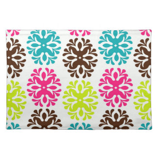 Colorful damask floral girly cute flower pattern cloth placemat