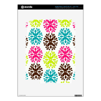 Colorful damask floral girly cute flower pattern skins for iPad 3