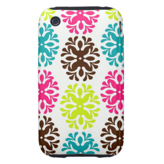 Colorful damask floral girly cute flower pattern tough iPhone 3 case