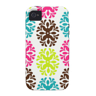 Colorful damask floral girly cute flower pattern vibe iPhone 4 case