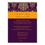 "Colorful Damask/plum/orange/lavender 5"" X 7"" Invitation Card"