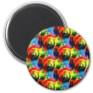 Colorful Dance Pop Art Music City Abstract 2 Inch Round Magnet