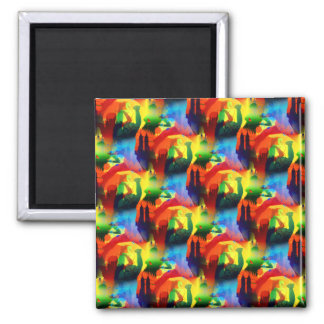 Colorful Dance Pop Art Music City Abstract 2 Inch Square Magnet