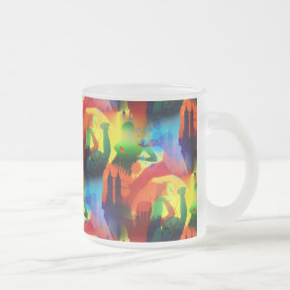 Colorful Dance Pop Art Music City Abstract Frosted Glass Coffee Mug