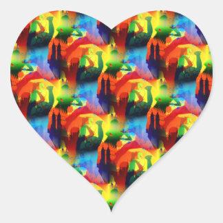 Colorful Dance Pop Art Music City Abstract Heart Sticker