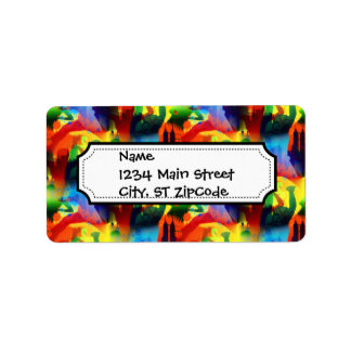 Colorful Dance Pop Art Music City Abstract Personalized Address Labels