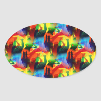Colorful Dance Pop Art Music City Abstract Oval Sticker