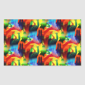 Colorful Dance Pop Art Music City Abstract Rectangular Sticker