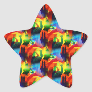 Colorful Dance Pop Art Music City Abstract Star Sticker
