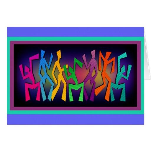 Colorful Dancers Art Greeting Card