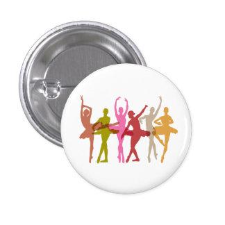 Colorful Dancing Ballerinas Pinback Button