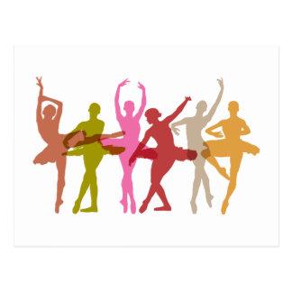Colorful Dancing Ballerinas Postcard