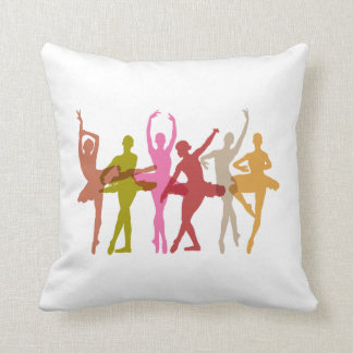 Colorful Dancing Ballerinas Throw Pillow