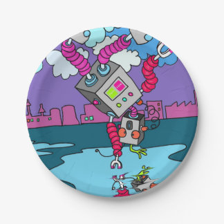 Colorful Dancing Robot Paper Plates 7 in