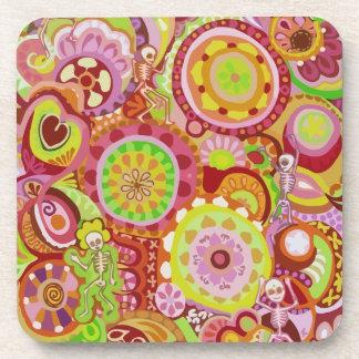 Colorful Dancing Skeletons Coasters - Set of 6