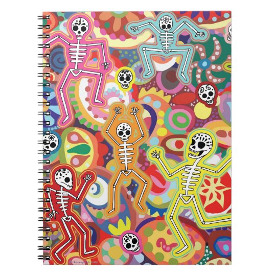 Colorful Dancing Skeletons Notebook