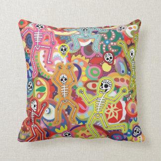 Colorful Dancing Skeletons Pillow