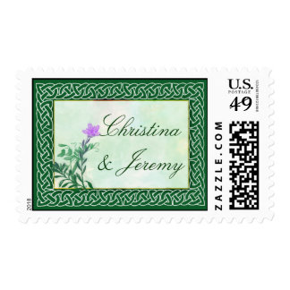 Colorful dark green with celtic knot border postage stamp
