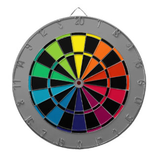 Colorful Dart Board Rainbow with Black Gray