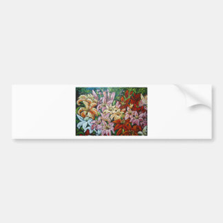 colorful day lilies car bumper sticker